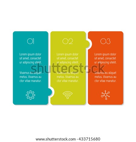 Horizontal puzzle infographic diagram with three options. Isolated paper sequence banner for tutorial. EPS10 progress steps template. - stock vector