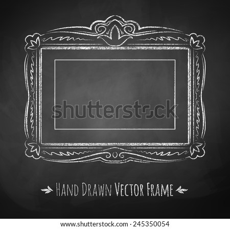 Horizontal rectangle chalked vintage baroque frame. Vector illustration. Isolated.  - stock vector
