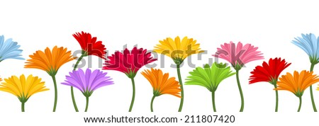 Horizontal seamless background with colorful gerbera flowers. Vector illustration. - stock vector