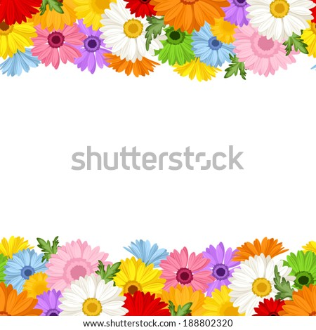 Horizontal seamless background with gerbera flowers. Vector illustration. - stock vector