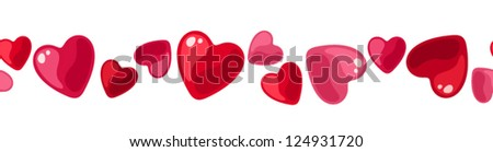 Horizontal seamless background with hearts. Vector illustration. - stock vector