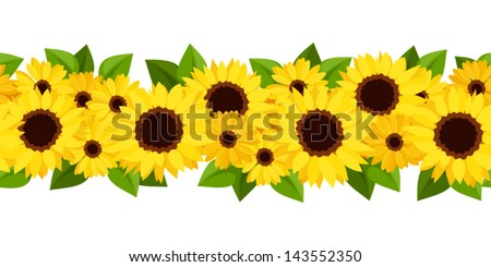 Horizontal seamless background with sunflowers and calendula. Vector illustration. - stock vector