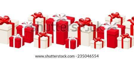 Horizontal seamless background with white and red gift boxes. Vector illustration. - stock vector