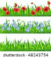 Horizontal seamless grass and floral pattern - stock vector