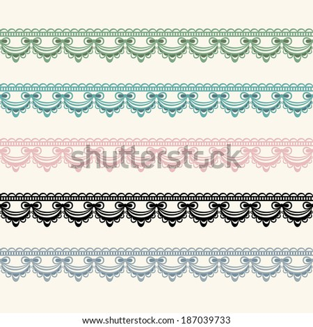 Horizontal seamless lace in five color versions