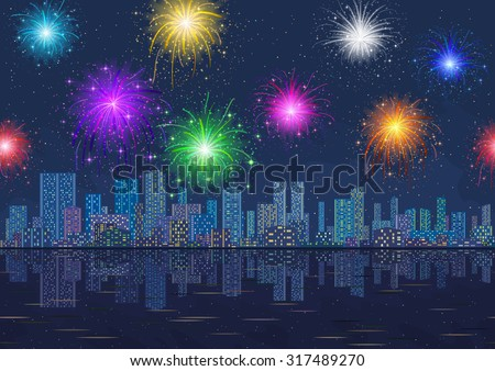 Horizontal Seamless Landscape, Holiday Urban Background, Night City with Skyscrapers and Fireworks in Starry Sky, Reflecting in Blue Sea. Eps10, Contains Transparencies. Vector - stock vector