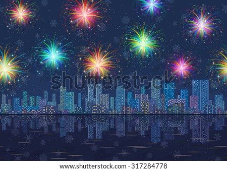 Horizontal Seamless Landscape, Holiday Urban Background, Night City with Skyscrapers, Fireworks and Snowflakes in Starry Sky, Reflecting in Blue Sea. Eps10, Contains Transparencies. Vector - stock vector