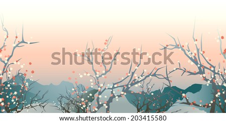 horizontal seamless pattern japan early morning landscape  - stock vector