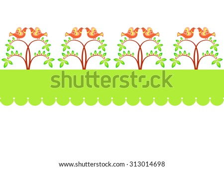 Horizontal seamless pattern with birds sitting in the bushes. - stock vector
