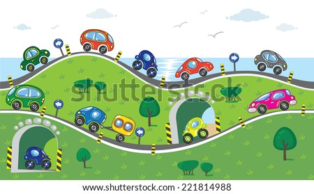 Horizontal seamless pattern with cars, going to the sea with lifts, slopes and arches