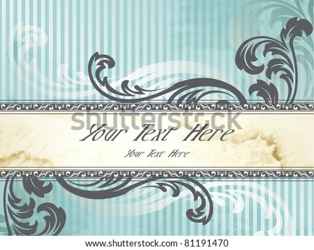 Horizontal silver Victorian vintage banner (eps10); jpg version also available - stock vector