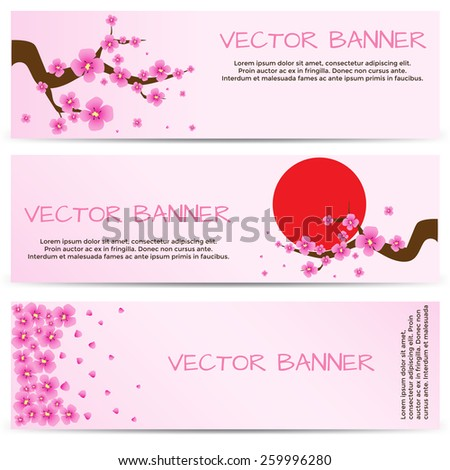 Horizontal Spring Banners with Blooming S?akura. Vector illustration.? - stock vector