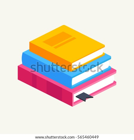 Horizontal Stack Colored Books Isometriceducation Infographic Stock ...