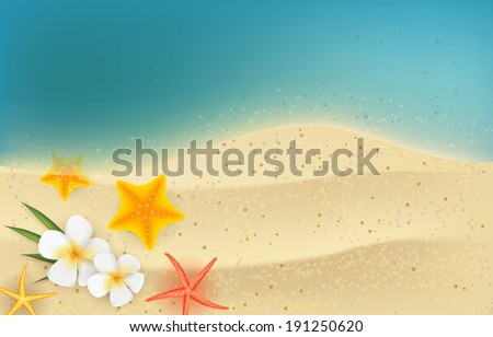 Horizontal summer backgound - sea and sand with tropical flowers and starfishes - stock vector