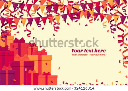 Horizontal template with colorful gift boxes, triangular party flags, confetti and paper streamer. Retro vector background. Place for your text. Design for invitation, card, banner, gift certificate - stock vector