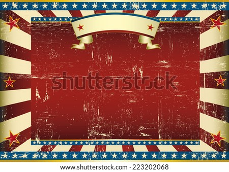 Horizontal textured American poster. A vintage horizontal poster with a large copy space for you.  Perfect size for a screen. - stock vector