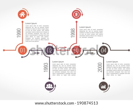 Horizontal Timeline Design Template Numbers Icons Stock Vector - Timeline design template