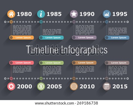 Horizontal timeline infographics design template, vector eps10 illustration - stock vector