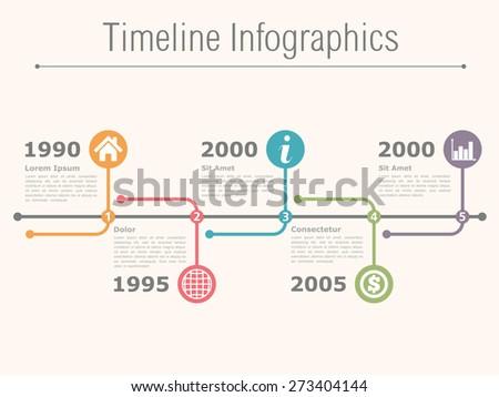 Horizontal timeline infographics template, vector eps10 illustration - stock vector