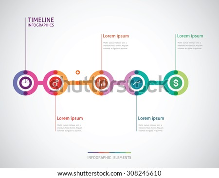 horizontal timeline infographics with a five color circle in the - stock vector