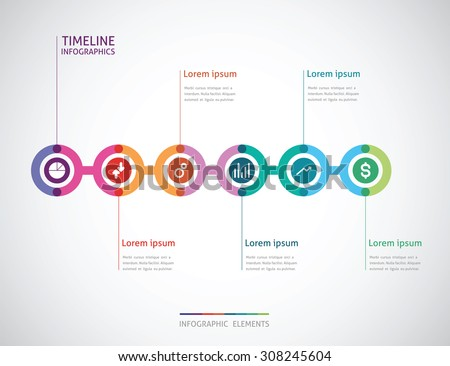 horizontal timeline infographics with a six color circle in the  - stock vector