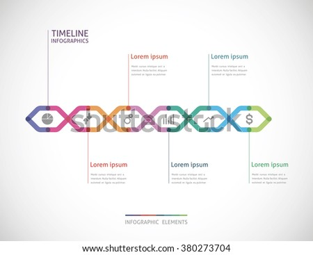 horizontal timeline infographics with six color point - stock vector