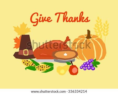 horizontal vector card with traditional Thanksgiving day symbols and text Give Thanks - stock vector