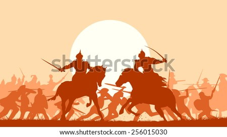 Horizontal vector illustration fight between two warriors on background of battle at sunset. - stock vector