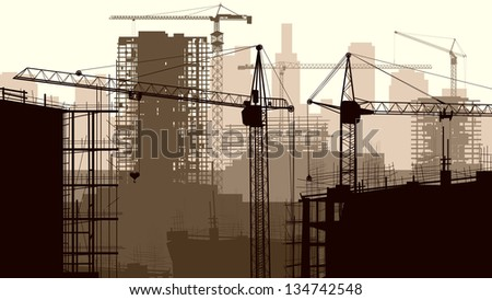 Horizontal vector illustration of construction site with cranes and building under construction. - stock vector