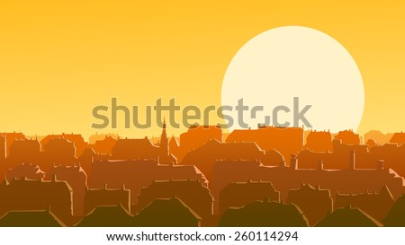 Horizontal vector illustration of old historic European city and roofs reflect rays of the setting sun. - stock vector