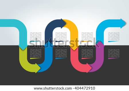 Horizontal wave infographic timeline. Web template for presentation, brochure, report. Business concept with options, parts, step by step, processes. - stock vector