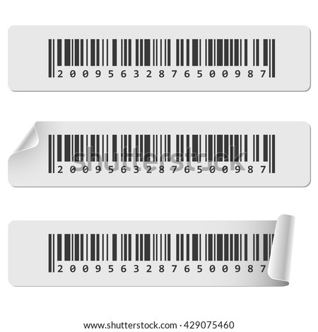 Horizontal white barcode sticker vector template. Barcode tags with curled corner. - stock vector