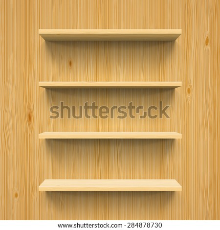 Horizontal wood bookshelves on the wall for design - stock vector