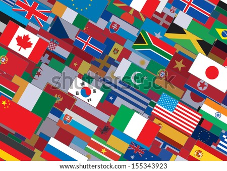 Horizontal World Flags Background. Ready for Your Text and Design.