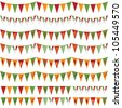 horizontally seamless mexican party bunting pack, isolated on white - stock photo
