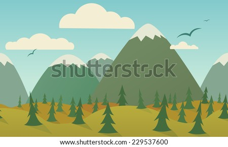 Horizontally seamless nature background. Mountains, hills, trees, meadow and birds. - stock vector