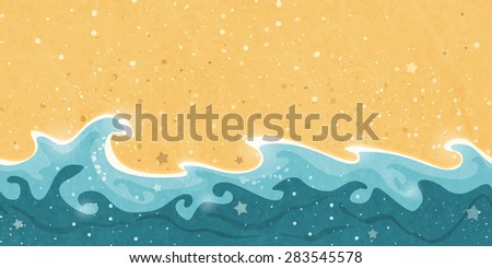 Horizontally tiling border creating a distressed seamless pattern of sand and water waves and bubbles. Great summer sun holiday design element. - stock vector