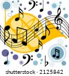 horn behind musical notes - stock vector