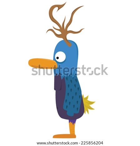 Horn Bird Creature - stock vector