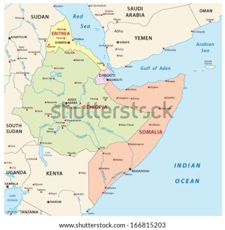 Horn Africa Map Stock Vector Shutterstock - Horn of africa map