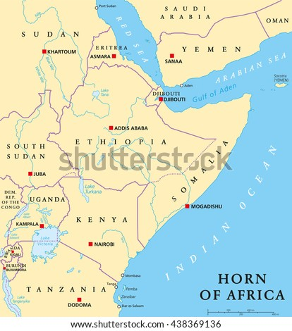 Horn Africa Peninsula Political Map Capitals Stock Vector 2018