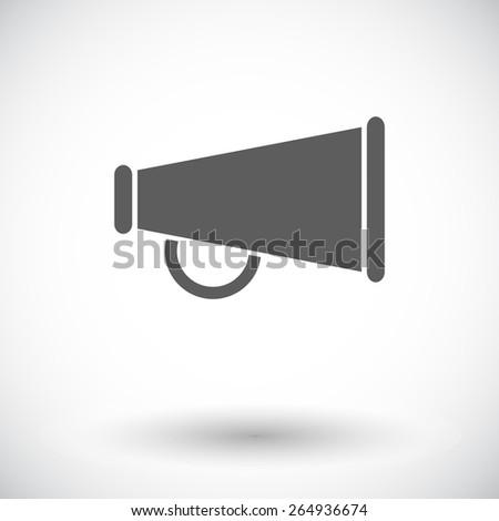 Horn. Single flat icon on white background. Vector illustration. - stock vector