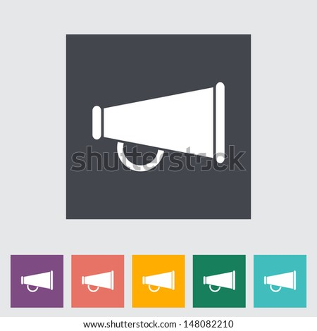 Horn single flat icon. Vector illustration. - stock vector