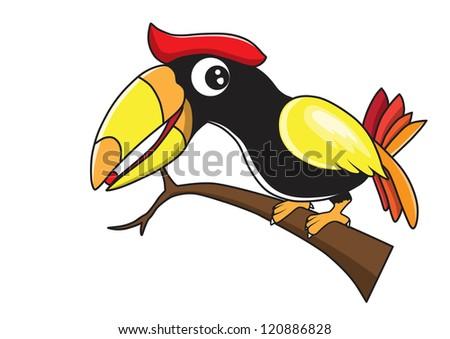 Hornbill vector cartoon - stock vector