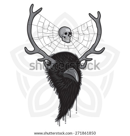 Horned Head of Raven Bird with Spider Web and Skull - stock vector