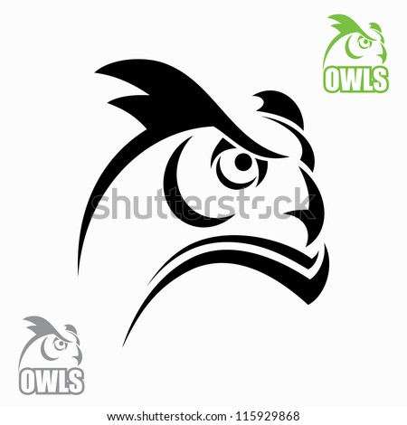 Horned owl head - vector illustrations - stock vector