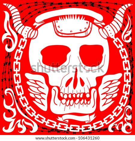 horned skull crest - stock vector