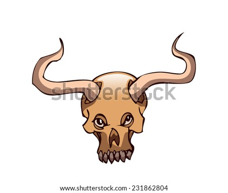 Horned Skull, Vector Illustration isolated on White Background, outlines available on Separate Layer.  - stock vector