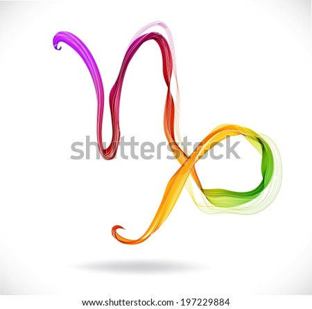 Horoscope: abstract color sign of the zodiac - Capricorn, beautiful illustration, VECTOR - stock vector