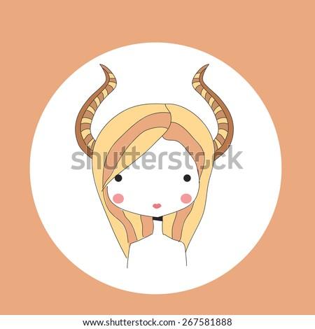 Horoscope Capricorn sign, girl head, vector illustration - stock vector